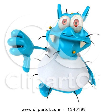 Clipart of a 3d Blue Germ Virus Wearing a White T Shirt, Holding up a Thumb down - Royalty Free Illustration by Julos