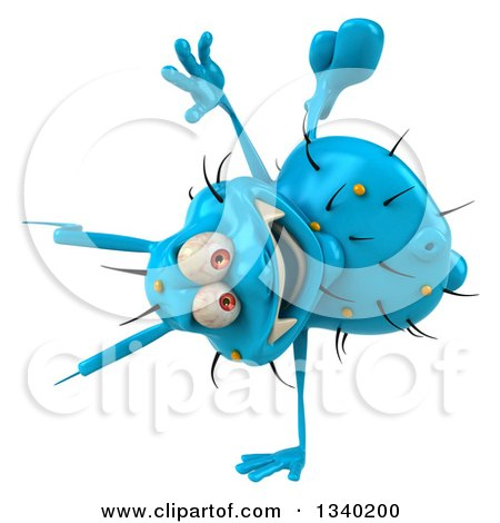 Clipart of a 3d Blue Germ Virus Cartwheeling - Royalty Free Illustration by Julos