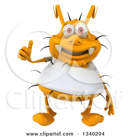 Clipart of a 3d Yellow Germ Wearing a White Tee Shirt, Giving a Thumb up - Royalty Free Illustration by Julos