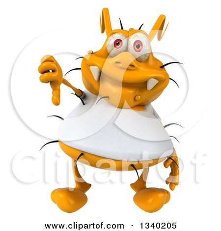 Clipart of a 3d Yellow Germ Wearing a White Tee Shirt, Giving a Thumb down - Royalty Free Illustration by Julos