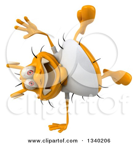 Clipart of a 3d Yellow Germ Wearing a White Tee Shirt and Cartwheeling - Royalty Free Illustration by Julos