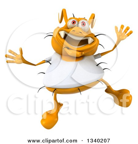 Clipart of a 3d Yellow Germ Wearing a White Tee Shirt and Jumping - Royalty Free Illustration by Julos