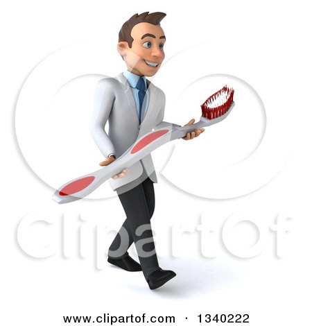 Clipart of a 3d Happy Young Brunette White Male Dentist Carrying a Giant Toothbrush, Walking to the Right - Royalty Free Illustration by Julos