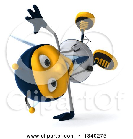 Clipart of a 3d Happy Bee Doctor Facing Right and Cartwheeling - Royalty Free Illustration by Julos