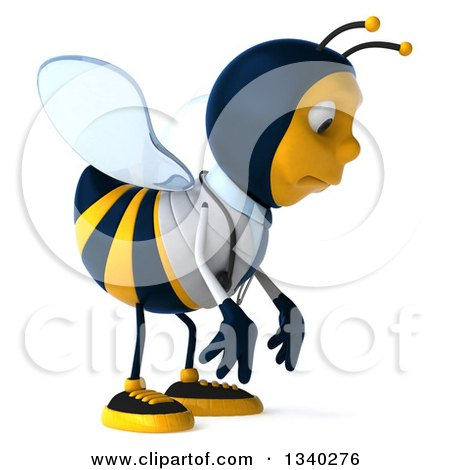 Clipart of a 3d Happy Bee Doctor Facing Right and Pouting - Royalty Free Illustration by Julos
