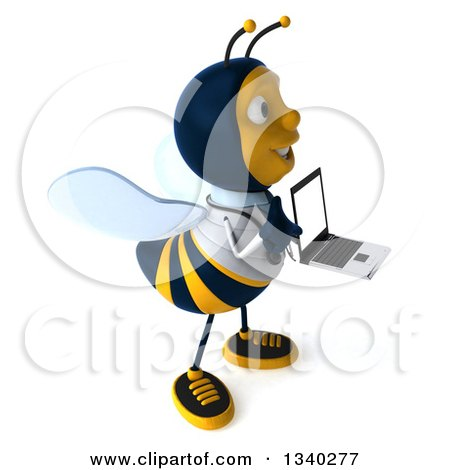Clipart of a 3d Happy Bee Doctor Holding a Laptop Computer and Facing Right - Royalty Free Illustration by Julos