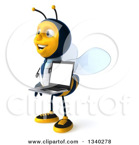 Clipart of a 3d Happy Bee Doctor Holding a Laptop Computer and Facing Left - Royalty Free Illustration by Julos