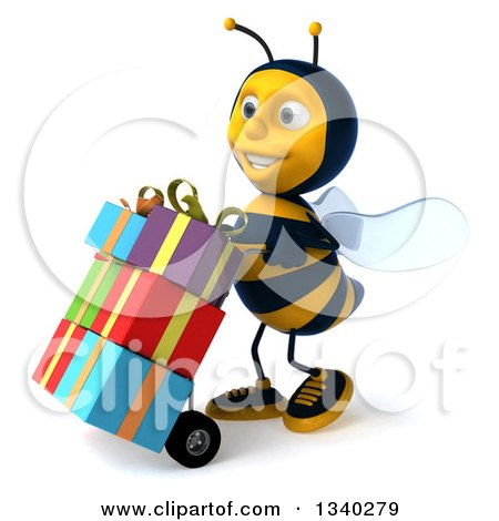 Clipart of a 3d Happy Male Bee Facing Left and Pushing Gifts on a Dolly - Royalty Free Illustration by Julos