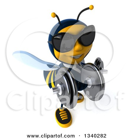 Clipart of a 3d Business Bee Wearing Sunglasses, Working Out, Looking up and Doing Bicep Curls with Dumbbells - Royalty Free Illustration by Julos