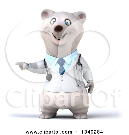 Clipart of a 3d Happy Polar Bear Doctor or Veterinarian Presenting - Royalty Free Illustration by Julos