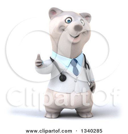 Clipart of a 3d Happy Polar Bear Doctor or Veterinarian Giving a Thumb up - Royalty Free Illustration by Julos