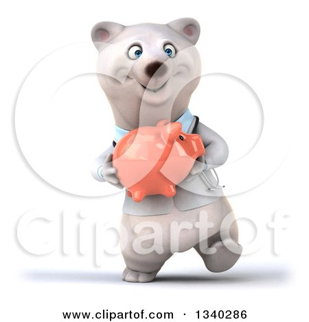 Clipart of a 3d Happy Polar Bear Doctor or Veterinarian Holding a Piggy Bank and Walking - Royalty Free Illustration by Julos