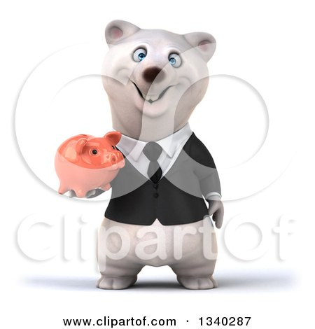 Clipart of a 3d Business Polar Bear Holding a Piggy Bank - Royalty Free Illustration by Julos