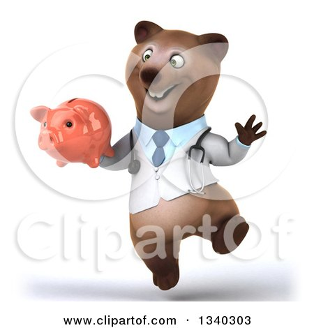Clipart of a 3d Happy Bespectacled Brown Bear Doctor or Veterinarian Jumping and Holding a Piggy Bank - Royalty Free Illustration by Julos