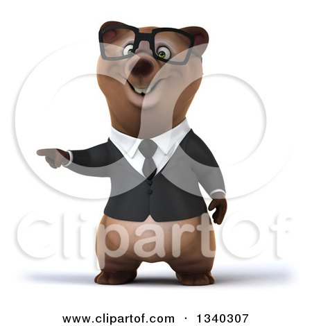 Clipart of a 3d Bespectacled Happy Brown Business Bear Pointing to the Left - Royalty Free Illustration by Julos