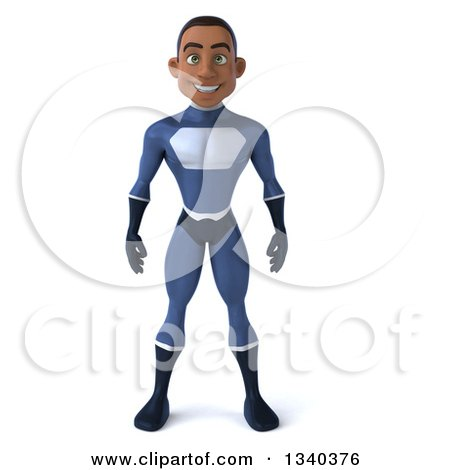 Clipart of a 3d Young Black Male Super Hero Dark Blue Suit - Royalty Free Illustration by Julos