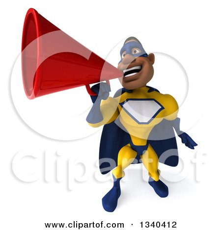 Clipart of a 3d Muscular Black Male Super Hero in a Yellow and Blue Suit, Announcing Upwards with a Megaphone - Royalty Free Illustration by Julos