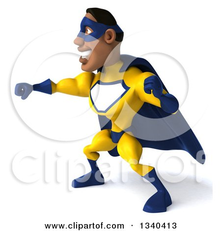 Clipart of a 3d Muscular Black Male Super Hero in a Yellow and Blue Suit, Facing Left and Punching - Royalty Free Illustration by Julos