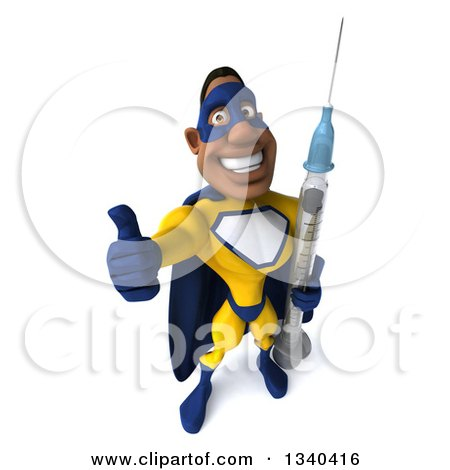 Clipart of a 3d Muscular Black Male Super Hero in a Yellow and Blue Suit, Holding up a Thumb and a Giant Vaccine Syringe - Royalty Free Illustration by Julos