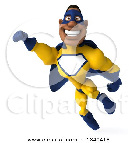 Clipart of a 3d Flying Muscular Black Male Super Hero in a Yellow and Blue Suit 2 - Royalty Free Illustration by Julos
