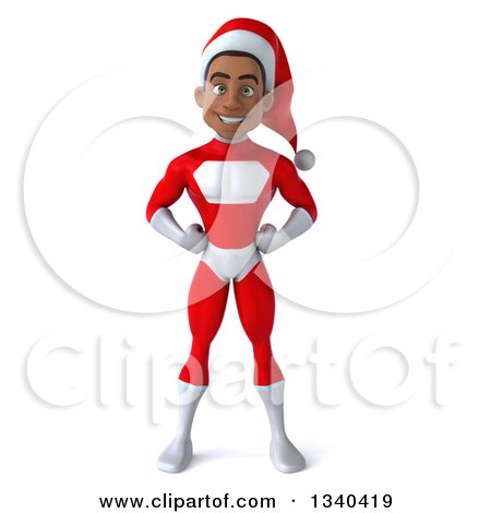 Clipart Of A 3d Young Black Male Christmas Super Hero Santa With Hands On His Hips Royalty Free Illustration