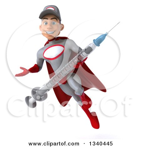 Clipart of a 3d Young White Male Super Hero Mechanic in Gray and Red, Holding a Giant Vaccine Syringe, Presenting and Flying - Royalty Free Illustration by Julos
