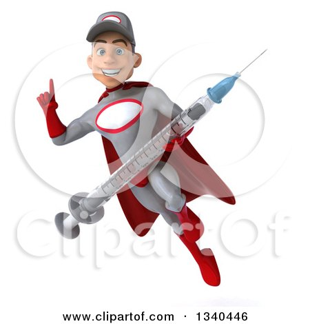 Clipart of a 3d Young White Male Super Hero Mechanic in Gray and Red, Holding up a Finger, a Giant Vaccine Syringe, and Flying - Royalty Free Illustration by Julos