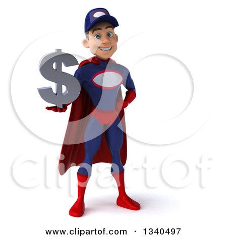 Clipart of a 3d Young White Male Super Hero Mechanic in Red and Dark Blue, Holding a Dollar Currency Symbol - Royalty Free Illustration by Julos