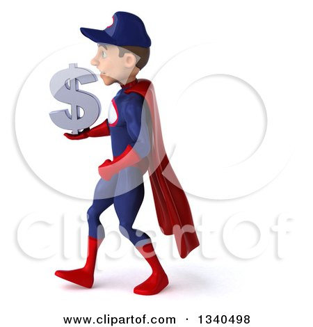 Clipart of a 3d Young White Male Super Hero Mechanic in Red and Dark Blue, Holding a Dollar Currency Symbol and Walking to the Left - Royalty Free Illustration by Julos