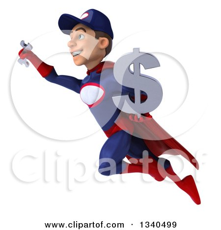 Clipart of a 3d Young White Male Super Hero Mechanic in Red and Dark Blue, Holding a Dollar Currency Symbol and Wrench and Flying - Royalty Free Illustration by Julos