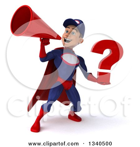 Clipart of a 3d Young White Male Super Hero Mechanic in Red and Dark Blue, Holding a Question Mark and Announcing with a Megaphone - Royalty Free Illustration by Julos