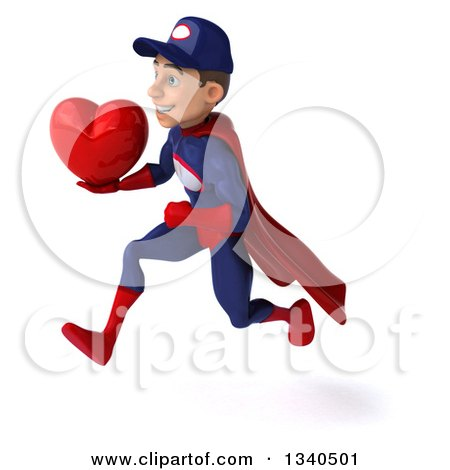 Clipart of a 3d Young White Male Super Hero Mechanic in Red and Dark Blue, Holding a Red Love Heart and Sprinting to the Left - Royalty Free Illustration by Julos