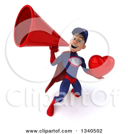 Clipart of a 3d Young White Male Super Hero Mechanic in Red and Dark Blue, Holding a Red Love Heart and Announcing Upwards with a Megaphone - Royalty Free Illustration by Julos