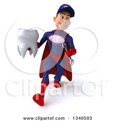 Clipart of a 3d Young White Male Super Hero Mechanic in Red and Dark Blue, Walking with a Tooth - Royalty Free Illustration by Julos