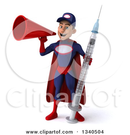 Clipart of a 3d Young White Male Super Hero Mechanic in Red and Dark Blue, Holding a Giant Vaccine Syringe and Announcing with a Megaphone - Royalty Free Illustration by Julos