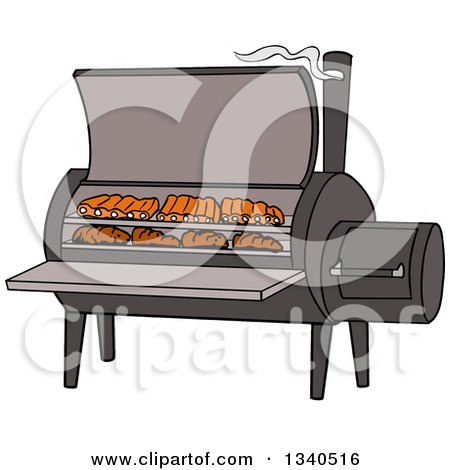 Clipart of a Cartoon Bbq Smoker with Ribs and Steaks - Royalty Free Vector Illustration by LaffToon