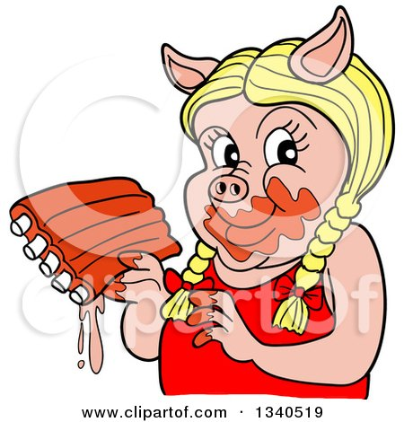 Clipart of a Cartoon Blond Female Pig Holding Saucy Ribs - Royalty Free Vector Illustration by LaffToon