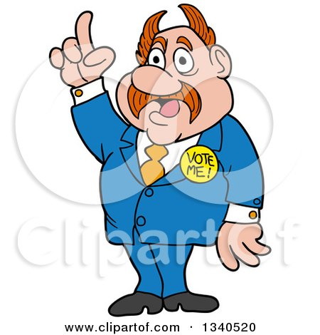 Clipart of a Cartoon Caucasian Politician with Horned Hair, Holding up a Finger - Royalty Free Vector Illustration by LaffToon