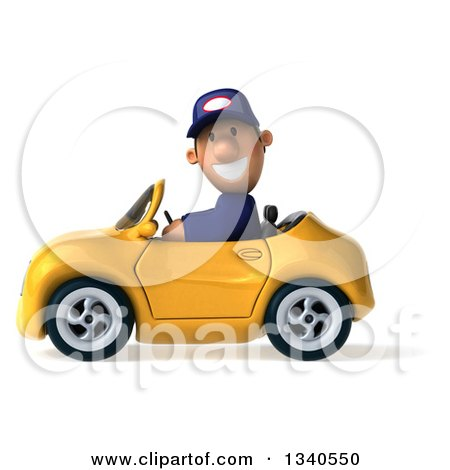 Clipart of a 3d Short White Male Auto Mechanic Driving a Yellow Convertible Car - Royalty Free Illustration by Julos