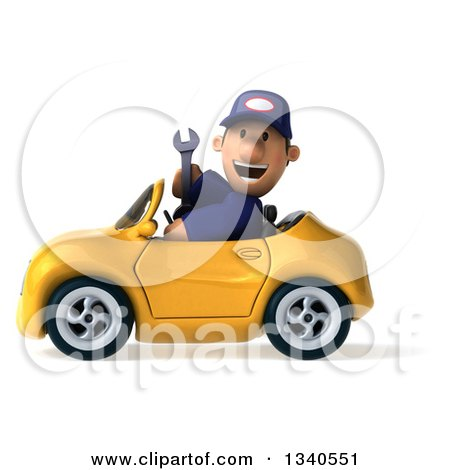 Clipart of a 3d Short White Male Auto Mechanic Holding a Wrench and Driving a Yellow Convertible Car - Royalty Free Illustration by Julos