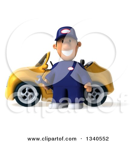 Clipart of a 3d Short White Male Auto Mechanic Holding a Wrench by a Yellow Convertible Car - Royalty Free Illustration by Julos