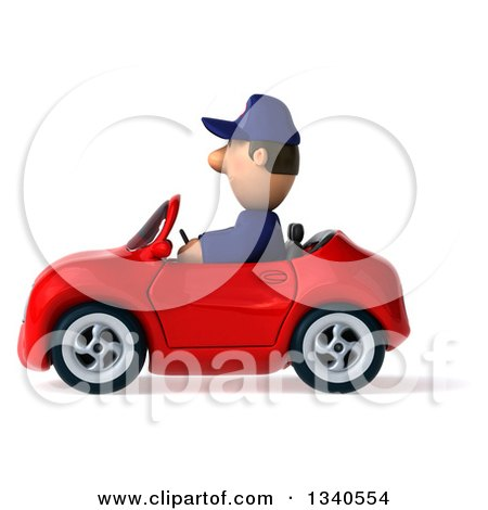 Clipart of a 3d Short White Male Auto Mechanic Driving a Red Convertible Car - Royalty Free Illustration by Julos