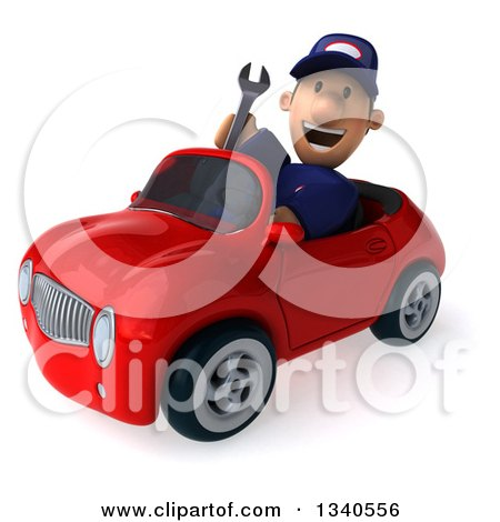 Clipart of a 3d Short White Male Auto Mechanic Holding a Wrench and Driving a Red Convertible Car - Royalty Free Illustration by Julos