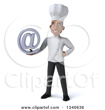 Clipart of a 3d Young Black Male Chef Holding an Email Arobase at Symbol - Royalty Free Illustration by Julos