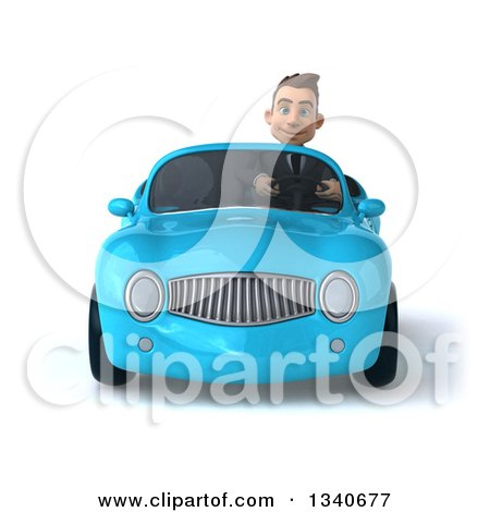 Clipart of a 3d Young White Businessman Driving a Blue Convertible Car - Royalty Free Illustration by Julos