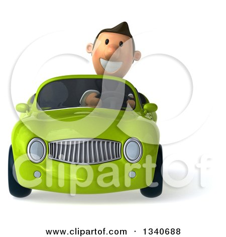Clipart of a 3d Happy Short White Businessman Driving a Green Convertible Car - Royalty Free Illustration by Julos