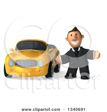 Clipart of a 3d Happy Short White Businessman Welcoming by a Yellow Convertible Car - Royalty Free Illustration by Julos