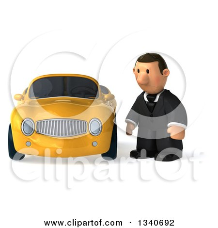 Clipart of a 3d Sad Short White Businessman by a Yellow Convertible Car - Royalty Free Illustration by Julos