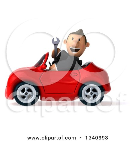 Clipart of a 3d Happy Short White Businessman Holding a Wrench and Driving a Red Convertible Car - Royalty Free Illustration by Julos