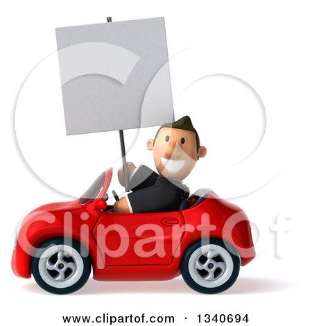 Clipart of a 3d Happy Short White Businessman Holding a Blank Sign and Driving a Red Convertible Car - Royalty Free Illustration by Julos
